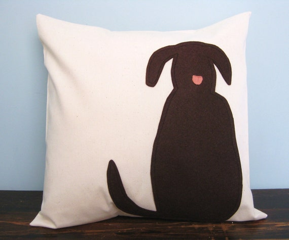 Brown Dog Silhouette Pillow Cover by DesignsByNancyT on Etsy