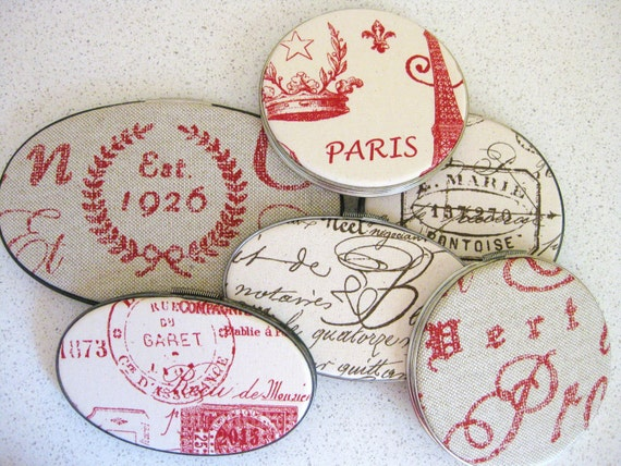 French Script Embroidery Hoop Wall Art Collection Set of 6