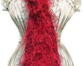 Hand Knit Scarf - Red Ribbon Scarf with Metal Thread -  Spring and Summer Fashion Accessory - Ready to Ship