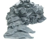 OOAK Hand Knit Lacy Ruffled Scarf - Silver, Grey - Spring and Summer Fashion Accessory - Ready to Ship