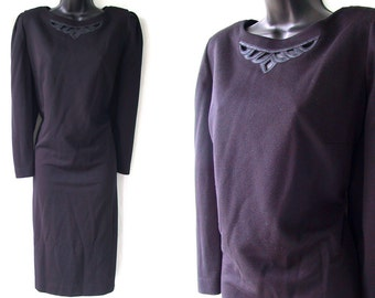 Vintage 80s Black with Cutout Neckline Cowl Back TUNIC Dress XL