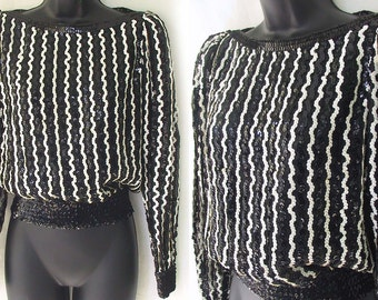 70s Sequin Black and White Stripe Blouse S M