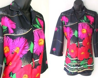 70s Bold Floral Pink and Red on Black Tunic Blouse M