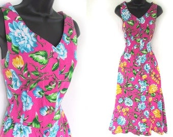 Vintage 80s 90s Pink with Vibrant loral Print Textured Cotton Vittadini Dress S M