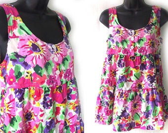 80s 90s Pink Floral Babydoll Blouse or Mini Dress S
