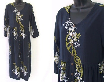 90s Blue with Abstract Floral Print Rayon Oversized Dress M
