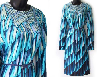 70s Aqua and Blue Geometric Optical Art Print Dress L