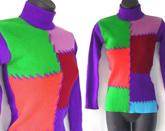 60s 70s Purple Green Orange Color Block Patchwork Turtleneck Sweater XS S