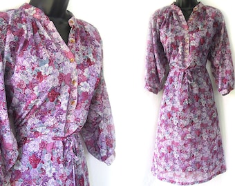 70s Purple with Floral Print Sheer Dress S M