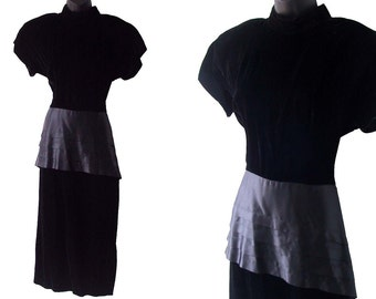 80s 90s Black Velvet with Pleated Satin Peplum Dress M