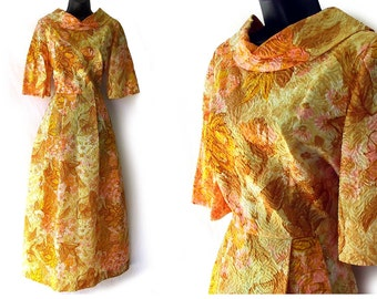 SALE! 60s 70s Abstract Floral Print Yellow Maxi Dress S