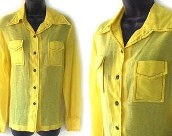 70s Yellow with Blue Topstitching Sheer Blouse M L