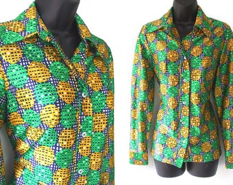 70s Geometric Print Green Yellow and Blue Blouse M