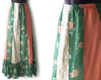 70s Orange Ivory and Green Floral Print and Lace Maxi Skirt M