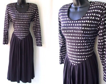 Vintage 80s 90s Black with Silver Spots Open Cut-Out Back Dress M