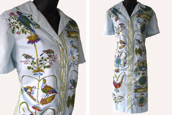 Reserved, please do not purchase - Vintage 70s Blue with Floral and Bird Print Serbin Shirtdress M L