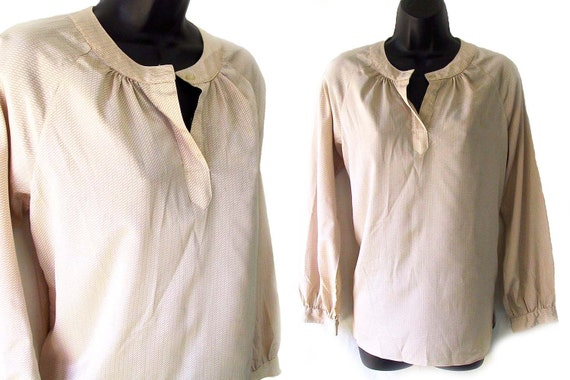 70s 80s Khaki and Ivory Geometric Print Blouse S M