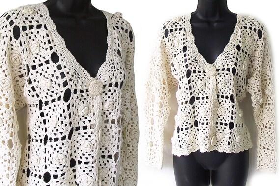90s Ivory Open Crochet Cardigan Sweater M L