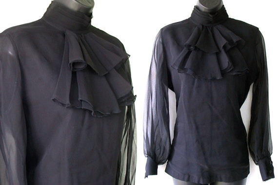 70s Black with Ruffled Bib Sheer Blouse XS S