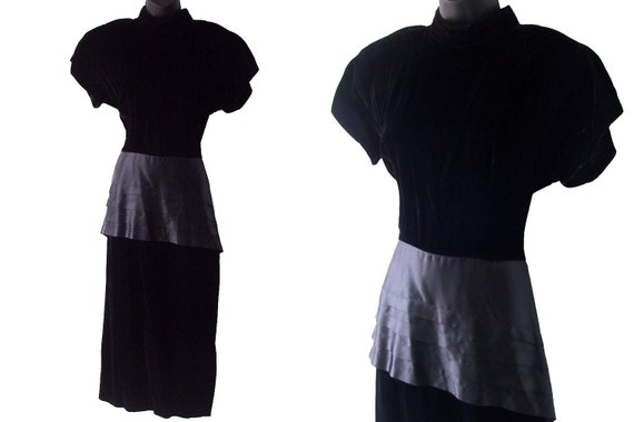 80s 90s Black Velvet with Pleated Satin Peplum Dress M
