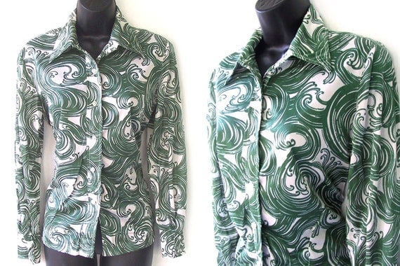 70s Swirl Print Green and Ivory Blouse L XL