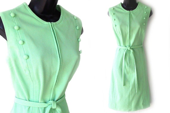 60s 70s Green Zipper Front Sleeveless Dress with Belt L