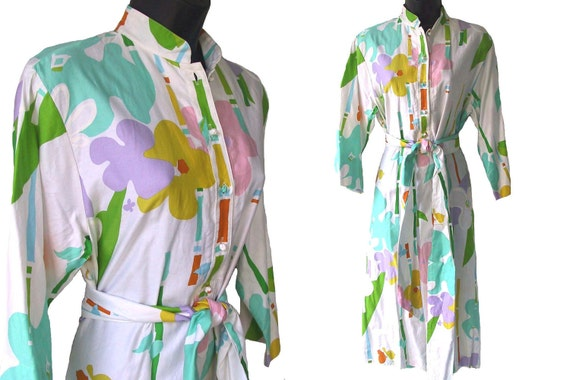 80s Catherine Ogust with Abstract Floral Print Cotton Dress M