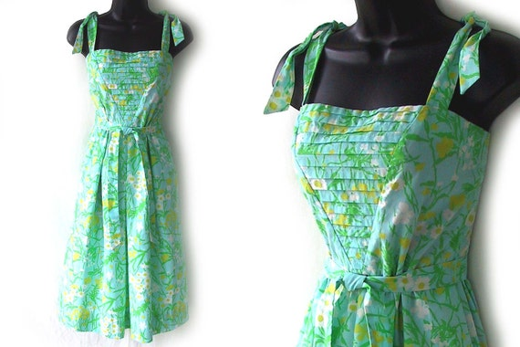 70s 80s Sundress Blue with Yellow White and Green Floral Print Dress S M