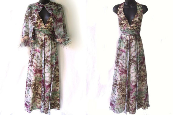 Vintage 70s 80s Abstract WATERCOLOR Floral Print EMPIRE Waist CHIFFON Dress with FEATHER Capelet S