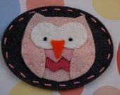 PINKY THE OWL - french barrette OR ponytail holder (wool felt)