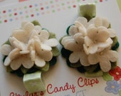 Pair of Ivory Hydrangea Hair Clips (wool felt)