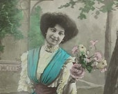 Antique French postcard, Edwardian lady in blue, real photo postcard (RPPC), paper ephemera.