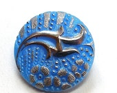 Blue Glass Button, 18mm Vintage Czech with silver flowers.