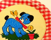 50's Tin Toy Tea plate, Puppy & butterfly graphics by Ohio Art.