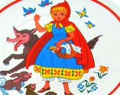 60s Little Red Riding Hood fairy tale lithograph, childrens tea plate.