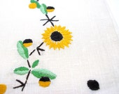 Sunflowers, 50s linen Tea Towel, yellow flowers with brown & green.