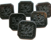 Victorian glass buttons, Set of 6 matching antique black glass with floral design.