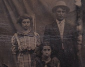 Day at the Fair Antique tintype photo of 3 people, ferrotype photograph.