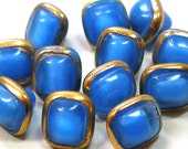 1950s Czech glass buttons, Set of 12 blue squares, 10mm.