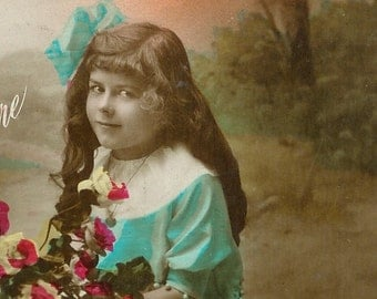 SALE 1900s French postcard, girl with flowers, RPPC, real photo postcard, paper ephemera. Price reduced.