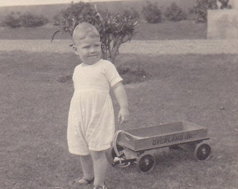 Lil Wagon, photo of a boy & toy, paper ephemera.