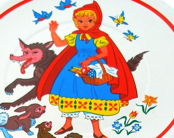 60s Little Red Riding Hood fairy tale lithograph, childrens tea plate. Larger size.