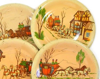 40s Tin Toy tea plates, HORSE & Carriage litho set of 4 different.