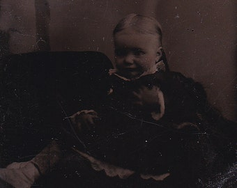 SALE Victorian tintype portrait of a toddler, ferrotype photograph.