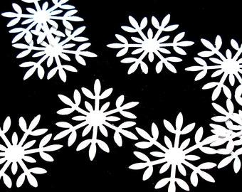 50 Snowflakes, White confetti embellishments for scrapbooking, decor, style B.