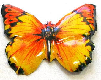 Tin toy BUTTERFLY brooch Japanese metal jewelry, yellow & orange insect.