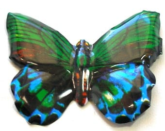 Tin toy butterfly brooch, Japanese jewelry in blue & green metal.