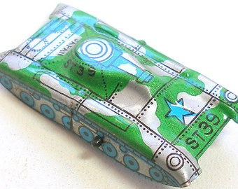 Tin Toy tank, 1960s Japanese car with green & silver camo, ST39. Vintage fun.