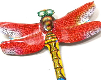 Tin toy DRAGONFLY brooch, RED & gold lithographed metal insect jewelry made in Japan.