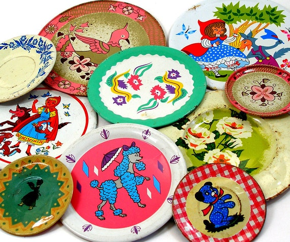 1930s-1960s metal tea plates, Set of 10 tin with litho, Instant Collection.